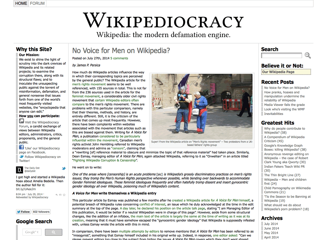 Wikipediocracy, el 'Wilikeaks' de la Wikipedia